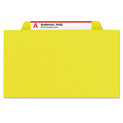 Six-Section Pressboard Top Tab Classification Folders with SafeSHIELD Fasteners, 2 Dividers, Legal Size, Yellow, 10/Box. Picture 6