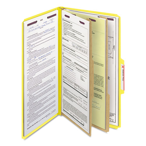 Six-Section Pressboard Top Tab Classification Folders with SafeSHIELD Fasteners, 2 Dividers, Legal Size, Yellow, 10/Box. Picture 8