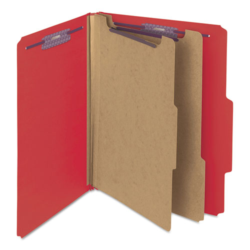 Six-Section Pressboard Top Tab Classification Folders with SafeSHIELD Fasteners, 2 Dividers, Letter Size, Bright Red, 10/Box. Picture 8