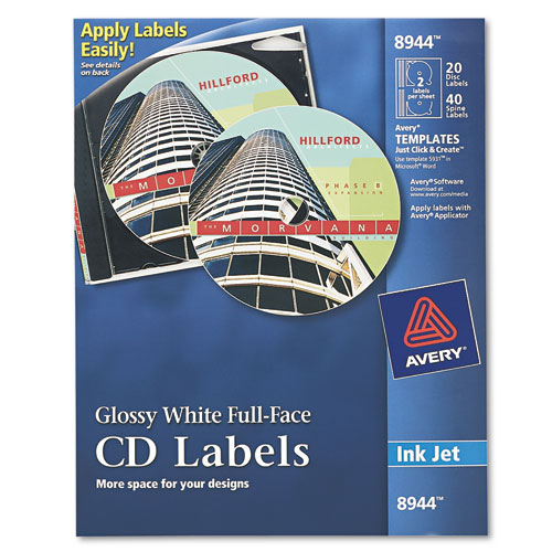 Inkjet Full-Face CD Labels, Glossy White, 20/Pack. Picture 1
