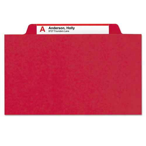 6-Section Pressboard Top Tab Pocket-Style Classification Folders with SafeSHIELD Fasteners, 2 Dividers, Letter, Red, 10/Box. Picture 4