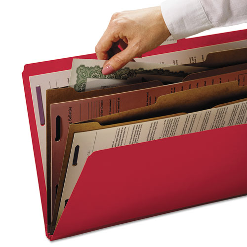 6-Section Pressboard Top Tab Pocket-Style Classification Folders with SafeSHIELD Fasteners, 2 Dividers, Letter, Red, 10/Box