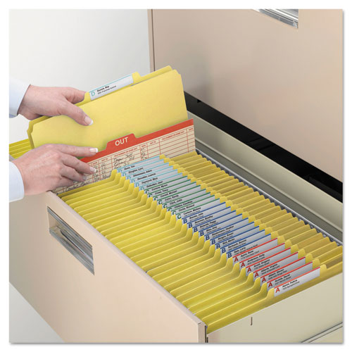 Four-Section Pressboard Top Tab Classification Folders with SafeSHIELD Fasteners, 1 Divider, Letter Size, Yellow, 10/Box. Picture 3