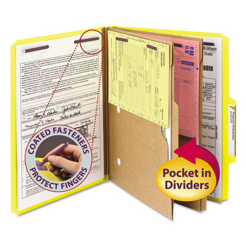 6-Section Pressboard Top Tab Pocket-Style Classification Folders with SafeSHIELD Fasteners, 2 Dividers, Letter, Yellow, 10/BX