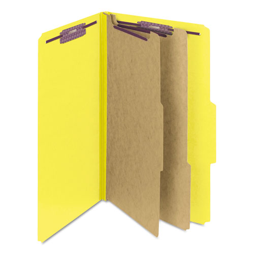 Six-Section Pressboard Top Tab Classification Folders with SafeSHIELD Fasteners, 2 Dividers, Legal Size, Yellow, 10/Box. Picture 9