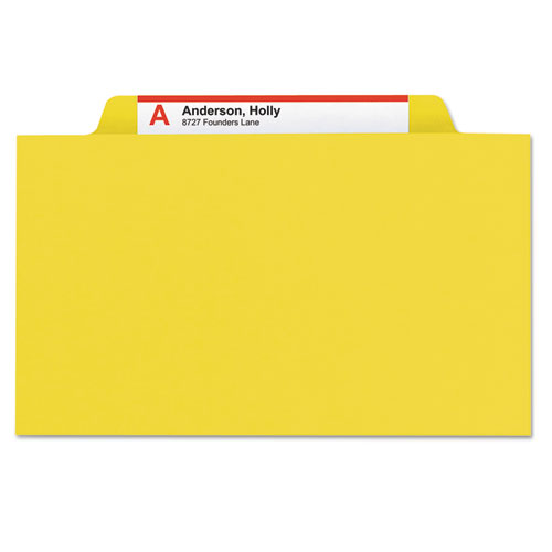 Four-Section Pressboard Top Tab Classification Folders with SafeSHIELD Fasteners, 1 Divider, Letter Size, Yellow, 10/Box. Picture 4