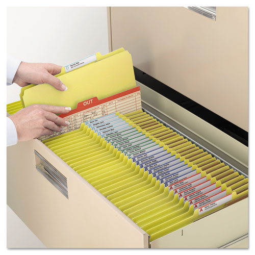 Six-Section Pressboard Top Tab Classification Folders with SafeSHIELD Fasteners, 2 Dividers, Legal Size, Yellow, 10/Box. Picture 10