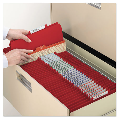 Six-Section Pressboard Top Tab Classification Folders with SafeSHIELD Fasteners, 2 Dividers, Legal Size, Bright Red, 10/Box. Picture 7