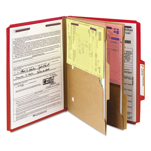 6-Section Pressboard Top Tab Pocket-Style Classification Folders with SafeSHIELD Fasteners, 2 Dividers, Letter, Red, 10/Box. Picture 9
