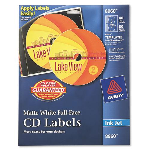 Inkjet Full-Face CD Labels, Matte White, 40/Pack. Picture 1