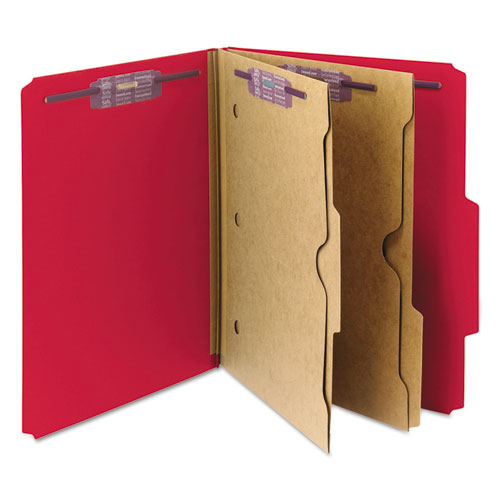 6-Section Pressboard Top Tab Pocket-Style Classification Folders with SafeSHIELD Fasteners, 2 Dividers, Letter, Red, 10/Box. Picture 10