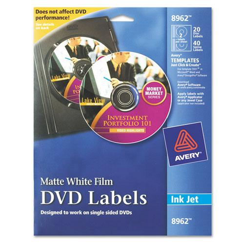 Inkjet DVD Labels, Matte White, 20/Pack. Picture 1