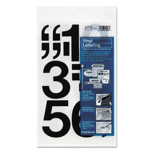 "Press-On Vinyl Numbers, Self Adhesive, Black, 3""h, 10/Pack. Picture 1"