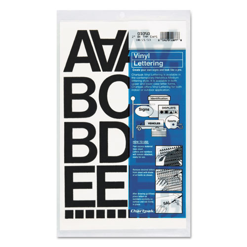 """Press-On Vinyl Letters and Numbers, Self Adhesive, Black, 2""""h, 77/Pack. Picture 1"""