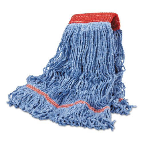 Cotton Mop Heads, Cotton/Synthetic, Large, Looped End, Wideband, Blue, 12/CT. Picture 1