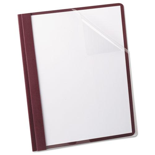 Linen Finish Clear Front Report Cover, 3 Fasteners, Letter, Burgundy, 25/Box. Picture 2