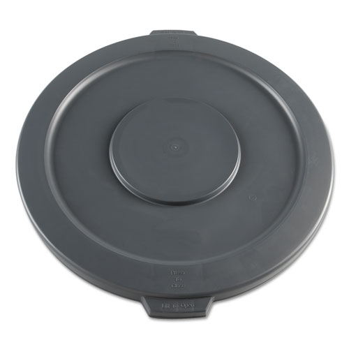 Lids for 32 gal Waste Receptacle, Flat-Top, Round, Plastic, Gray. Picture 1