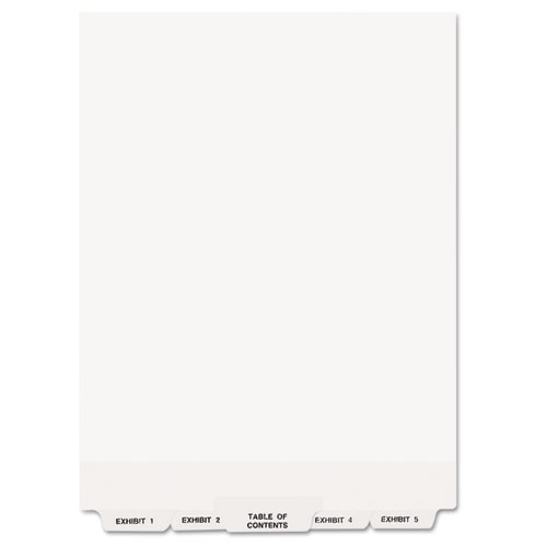 Preprinted Legal Exhibit Bottom Tab Index Dividers, Avery Style, 26-Tab, Exhibit 1 to Exhibit 25, 11 x 8.5, White, 1 Set. Picture 2
