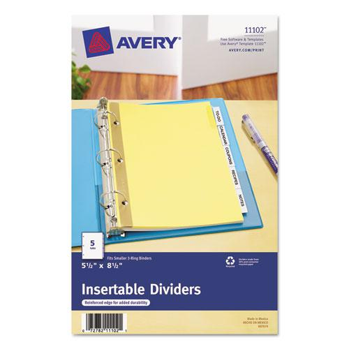 Insertable Standard Tab Dividers, 5-Tab, 8.5 x 5 1/2. Picture 1
