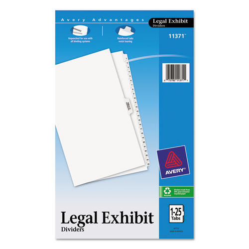 Preprinted Legal Exhibit Side Tab Index Dividers, Avery Style, 26-Tab, 1 to 25, 14 x 8.5, White, 1 Set. Picture 1