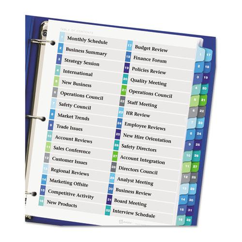 Customizable TOC Ready Index Double Column Multicolor Dividers, 32-Tab, Letter. Picture 3