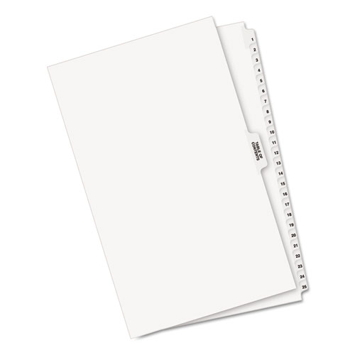 Preprinted Legal Exhibit Side Tab Index Dividers, Avery Style, 26-Tab, 1 to 25, 14 x 8.5, White, 1 Set. Picture 2