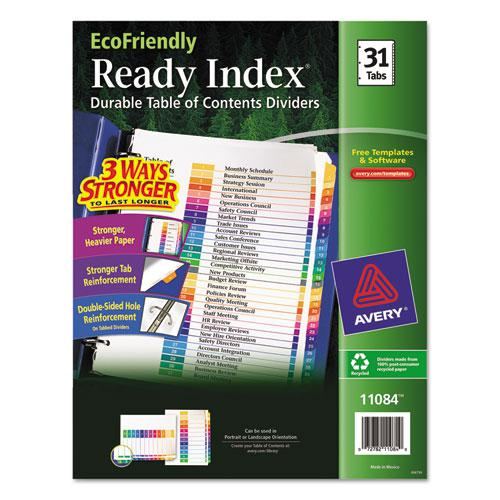 Customizable Table of Contents Ready Index Dividers with Multicolor Tabs, 31-Tab, 1 to 31, 11 x 8.5, White, 1 Set. Picture 1