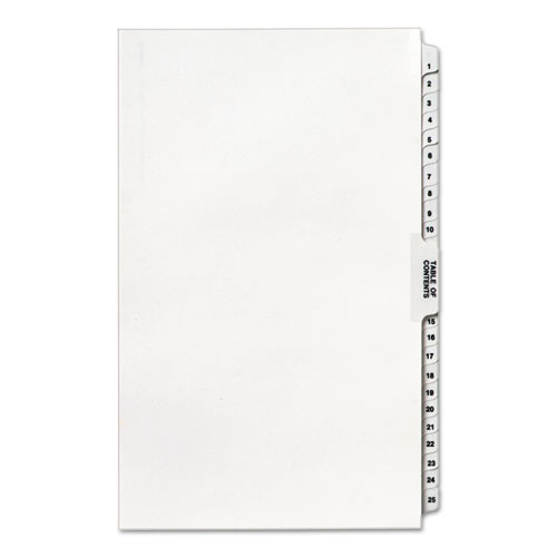 Preprinted Legal Exhibit Side Tab Index Dividers, Avery Style, 26-Tab, 1 to 25, 14 x 8.5, White, 1 Set. Picture 3