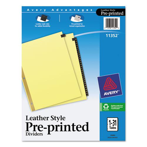 Preprinted Black Leather Tab Dividers w/Gold Reinforced Edge, 31-Tab, Ltr. Picture 1