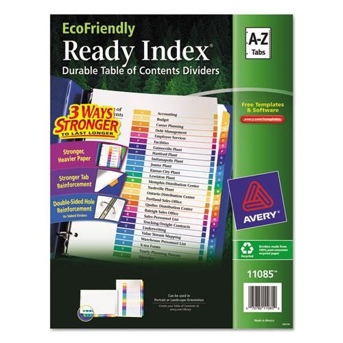 Customizable Table of Contents Ready Index Dividers with Multicolor Tabs, 26-Tab, A to Z, 11 x 8.5, White, 1 Set. Picture 1