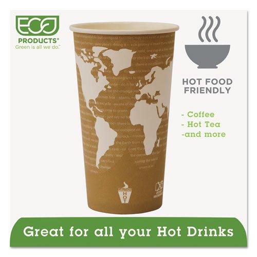 World Art Renewable Compostable Hot Cups, 20 oz., 50/PK, 20 PK/CT. Picture 2