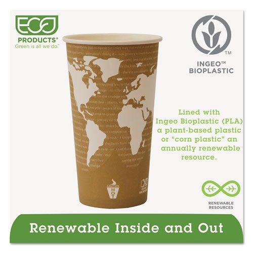 World Art Renewable Compostable Hot Cups, 20 oz., 50/PK, 20 PK/CT. Picture 3