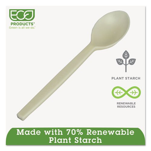 """Plant Starch Spoon - 7"""", 50/Pack, 20 Pack/Carton. Picture 2"""