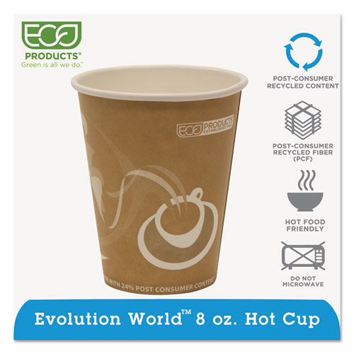 Evolution World 24% Recycled Content Hot Cups - 8oz., 50/PK, 20 PK/CT. Picture 1