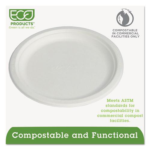 """Renewable & Compostable Sugarcane Plates, 9"""", 500/Carton. Picture 2"""