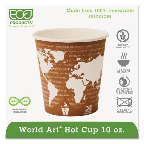 World Art Renewable Compostable Hot Cups, 10 oz., 50/PK, 20 PK/CT. Picture 1