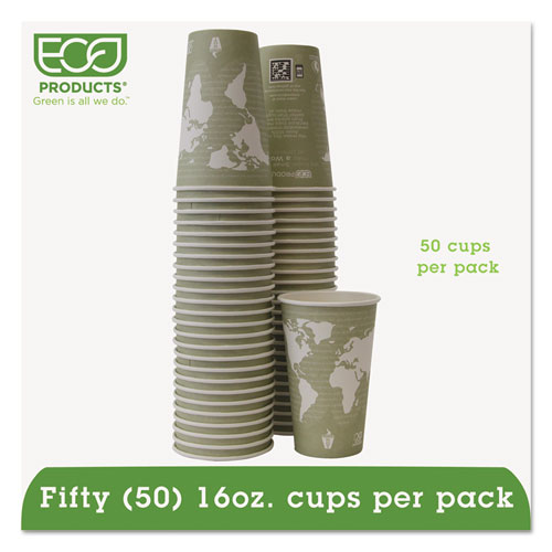 World Art Renewable/Compostable Hot Cups, 16 oz, Moss, 50/Pack. Picture 1