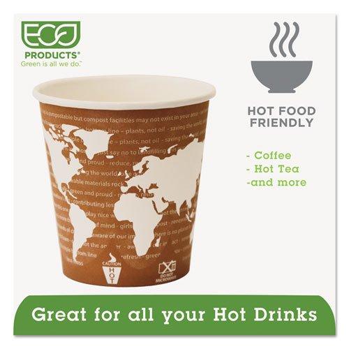 World Art Renewable Compostable Hot Cups, 10 oz., 50/PK, 20 PK/CT. Picture 2