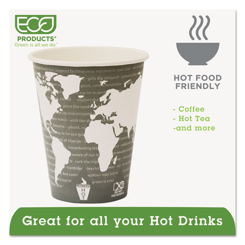 World Art Renewable Compostable Hot Cups, 12 oz., 50/PK, 20 PK/CT. Picture 3