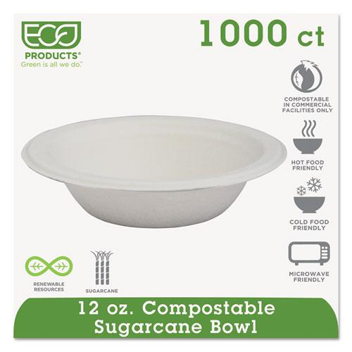 Renewable & Compostable Sugarcane Bowls - 12oz., 50/PK, 20 PK/CT. Picture 1