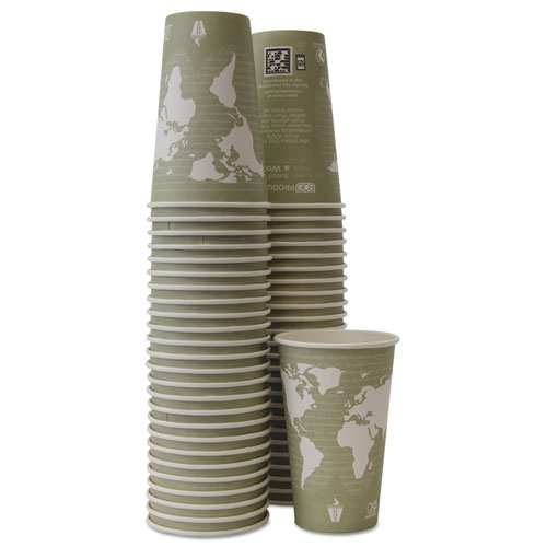 World Art Renewable/Compostable Hot Cups, 16 oz, Moss, 50/Pack. Picture 2