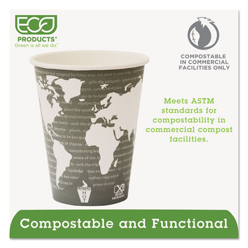 World Art Renewable Compostable Hot Cups, 12 oz., 50/PK, 20 PK/CT. Picture 4
