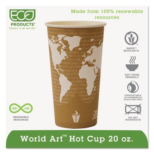 World Art Renewable Compostable Hot Cups, 20 oz., 50/PK, 20 PK/CT. Picture 1