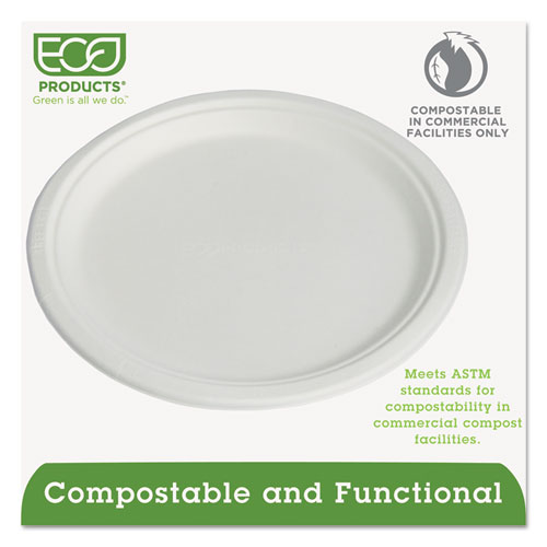 """Compostable Sugarcane Dinnerware, 10"""" Plate, Natural White, 50/Pack. Picture 2"""
