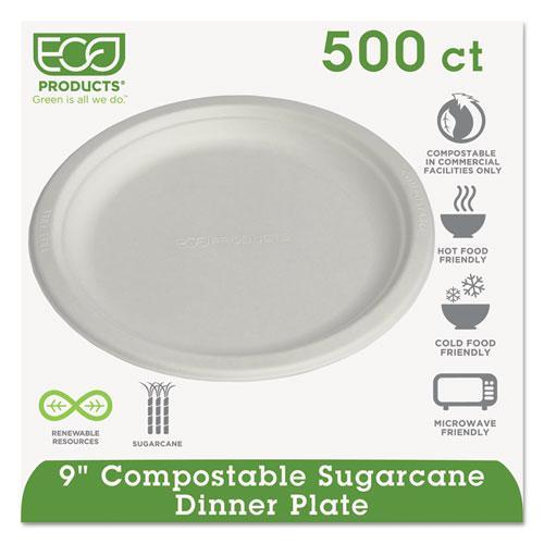"""Renewable & Compostable Sugarcane Plates, 9"""", 500/Carton. Picture 1"""