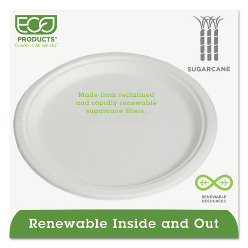 """Compostable Sugarcane Dinnerware, 10"""" Plate, Natural White, 50/Pack. Picture 3"""