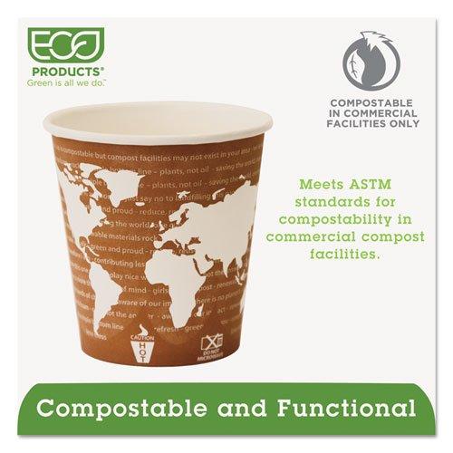 World Art Renewable Compostable Hot Cups, 10 oz., 50/PK, 20 PK/CT. Picture 4