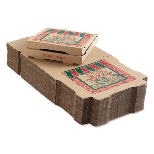 Corrugated Pizza Boxes, 12 x 12 x 1.75, Kraft, 50/Carton. Picture 1