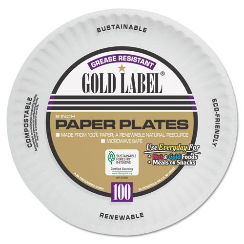 Coated Paper Plates, 9 Inches, White, Round, 100/Pack. Picture 1