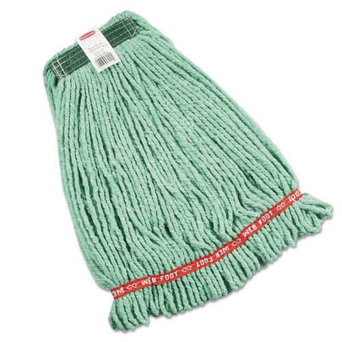 Web Foot Wet Mop Heads, Shrinkless, Cotton/Synthetic, Green, Medium. Picture 1